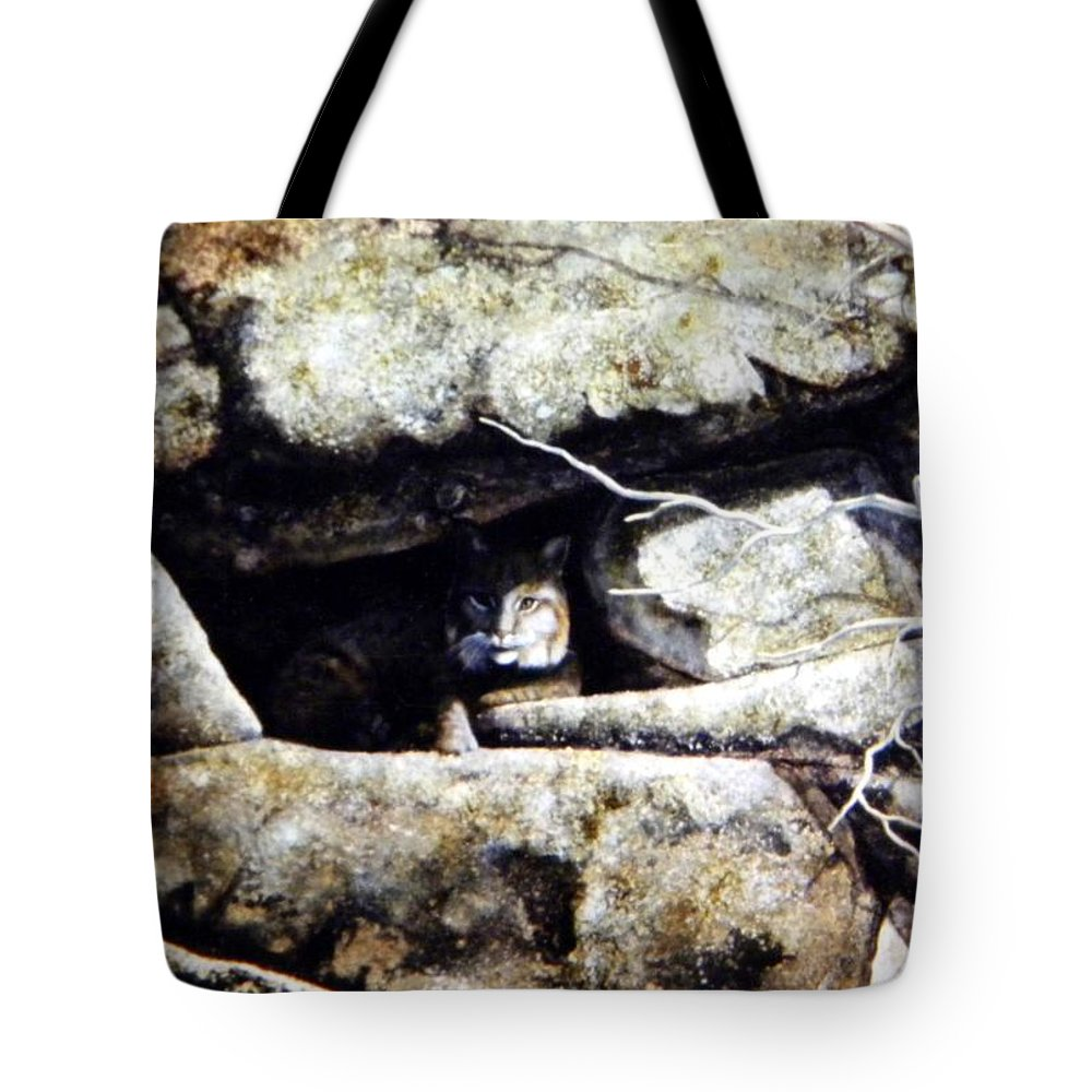 Wildlife Tote Bag featuring the painting The Lookout Lynx by Frank Wilson