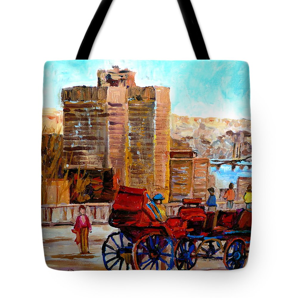 Montreal Street Scene Tote Bag featuring the painting The Lookout On Mount Royal Montreal by Carole Spandau