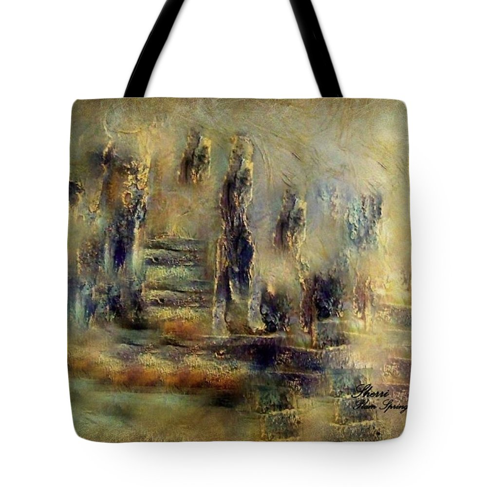 Lost Tote Bag featuring the painting The Lost City By Sherriofpalmsprings by Sherri's - Of Palm Springs