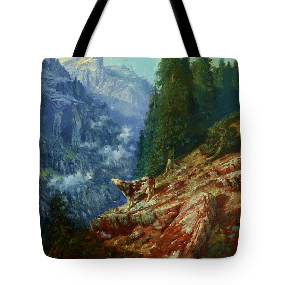 The Tote Bag featuring the painting The Lost Cow 1852 by Dore Gustave