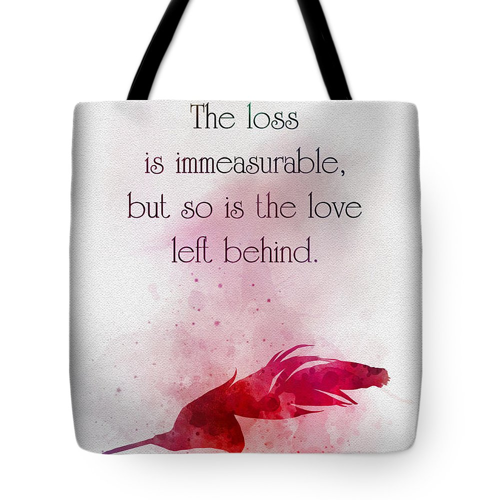 Feather Tote Bag featuring the mixed media The Love Left Behind by My Inspiration