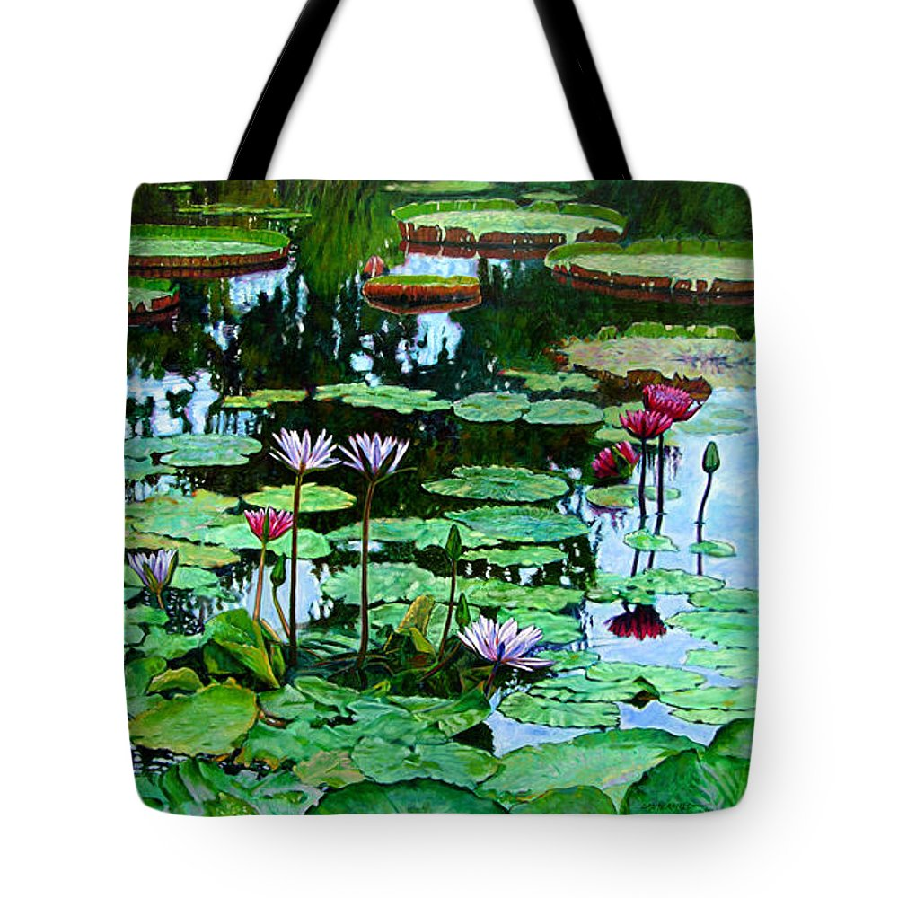 Landscape Tote Bag featuring the painting The Love of Peace by John Lautermilch