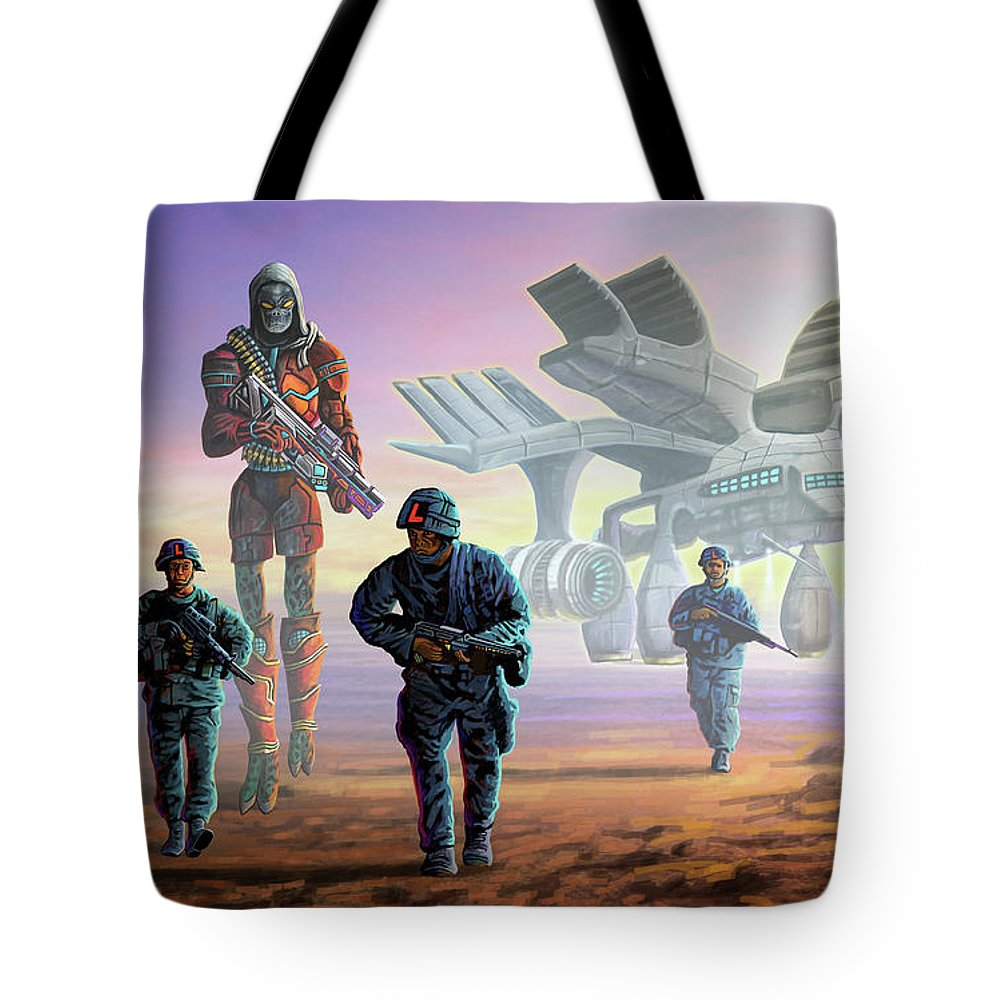 Record Tote Bag featuring the painting The Loyalists by Anthony Mwangi