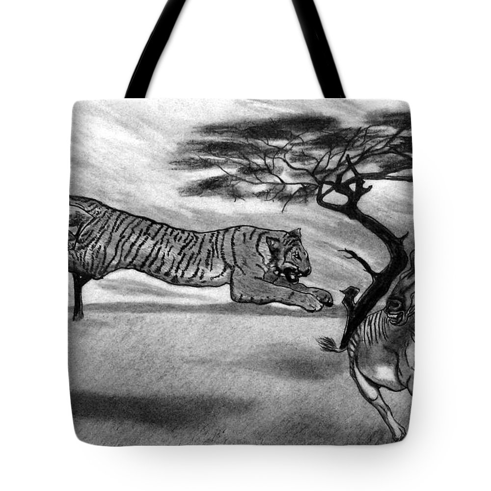 The Lunge Tote Bag featuring the drawing The Lunge by Peter Piatt