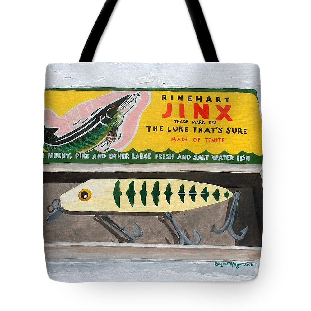 Fishing Tote Bag featuring the painting The Lure That by Racquel Morgan