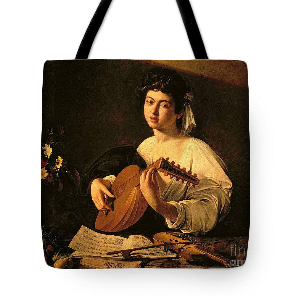 The Lute Player Tote Bag featuring the painting The Lute Player by Michelangelo Merisi da Caravaggio