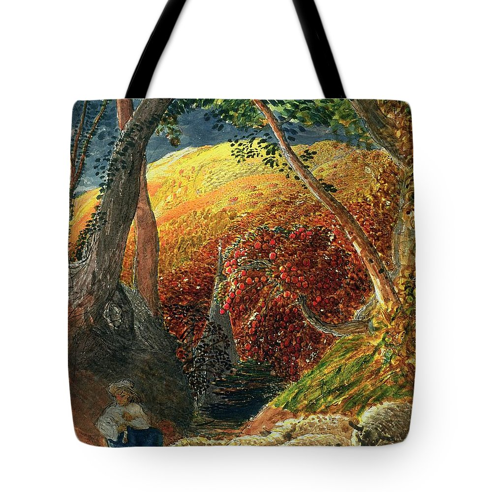 The Magic The Magic Apple Tree (indian Ink & W/c) By Samuel Palmer (1805-81) Tote Bag featuring the painting The Magic Apple Tree by Samuel Palmer