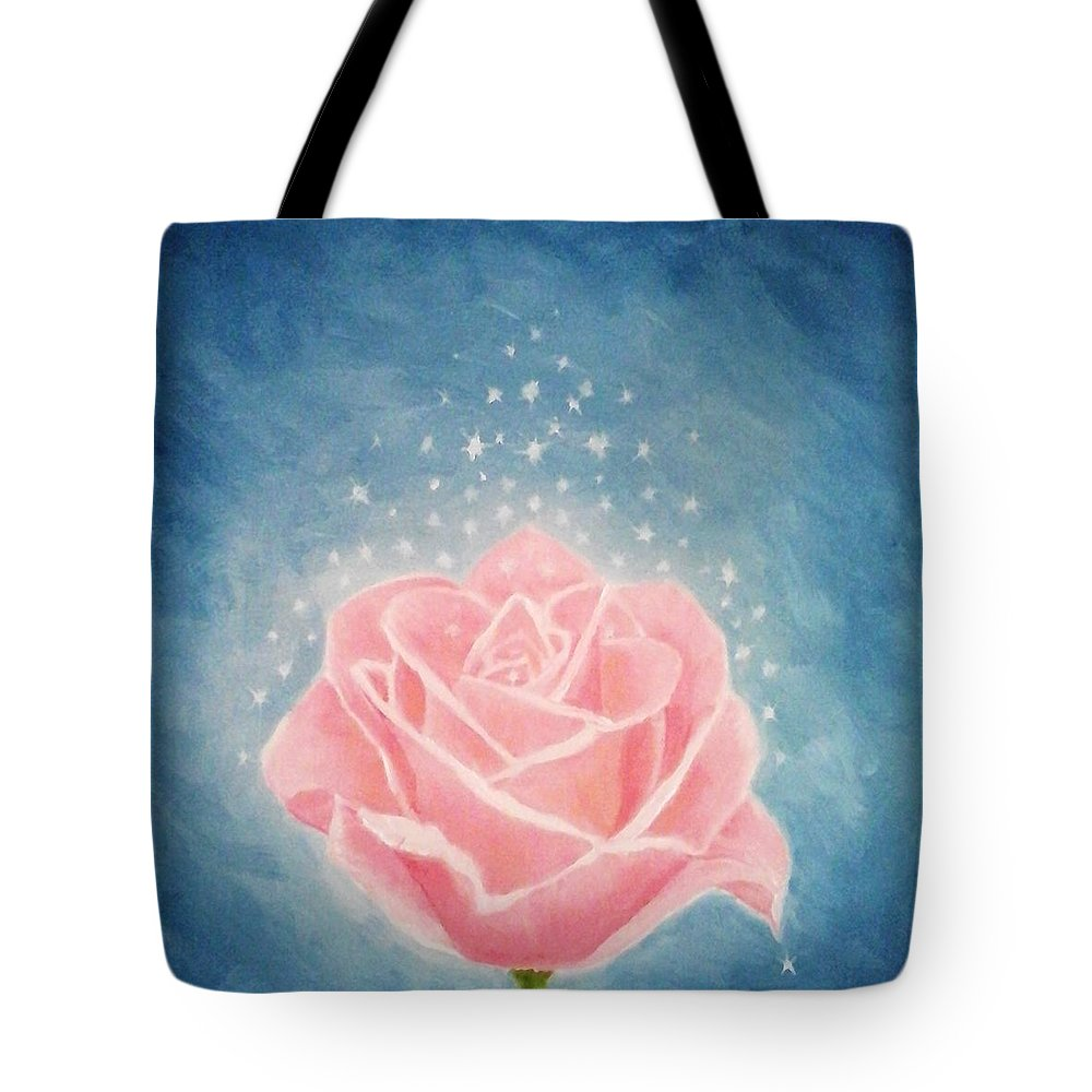 Pink Tote Bag featuring the painting The Magical Pink Rose by Shikha Narula