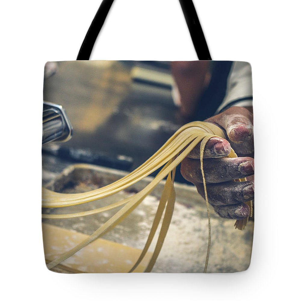 Italy Tote Bag featuring the photograph The Making Of Pasta by Happy Home Artistry