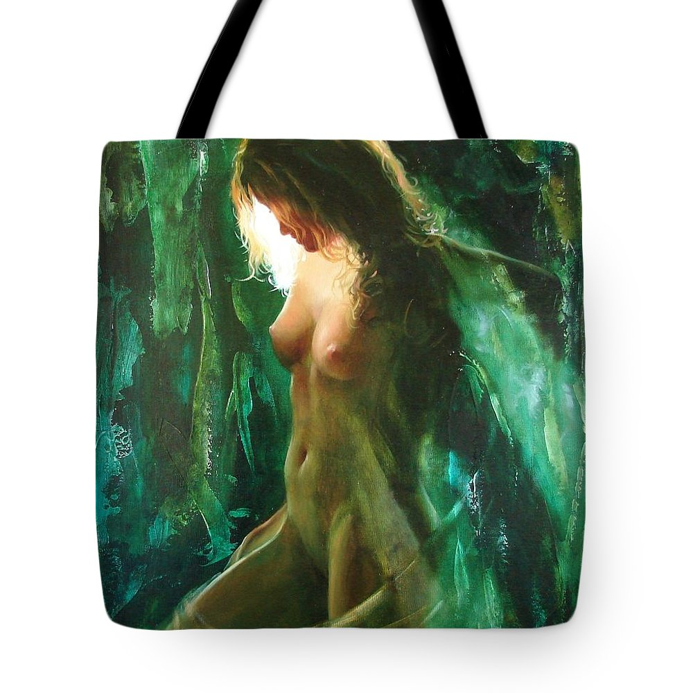 Art Tote Bag featuring the painting The Malachite Light by Sergey Ignatenko
