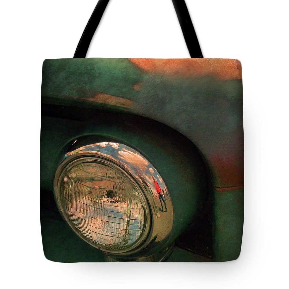 Headlight Tote Bag featuring the photograph The Man At The Car Show by Tara Turner
