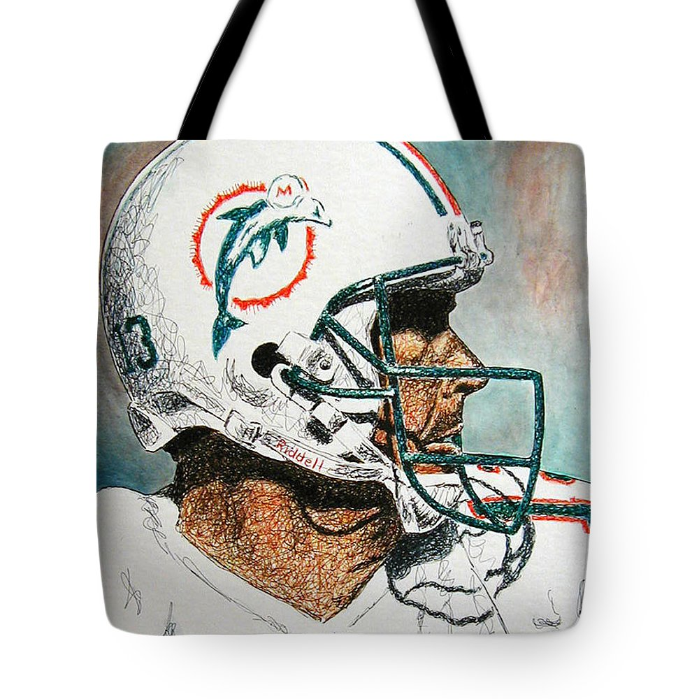 Dan Marino Tote Bag featuring the mixed media The Man by Maria Arango