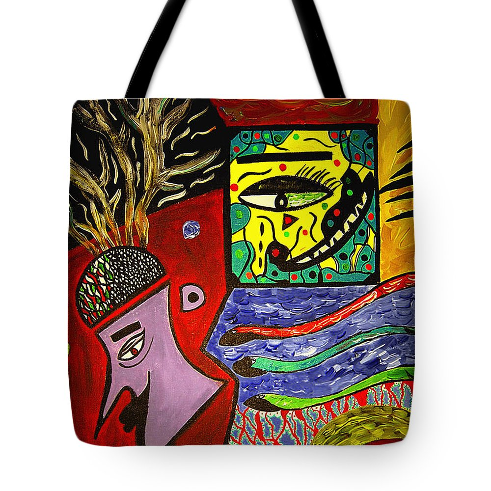 Psychedelic Tote Bag featuring the painting The Man by Safak Tulga