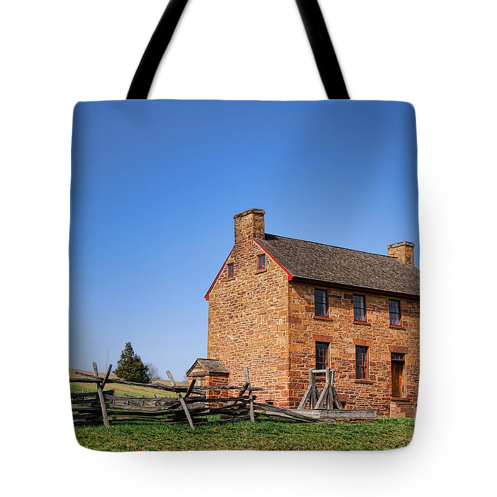 Stone Tote Bag featuring the photograph The Manassas Stone House by Olivier Le Queinec
