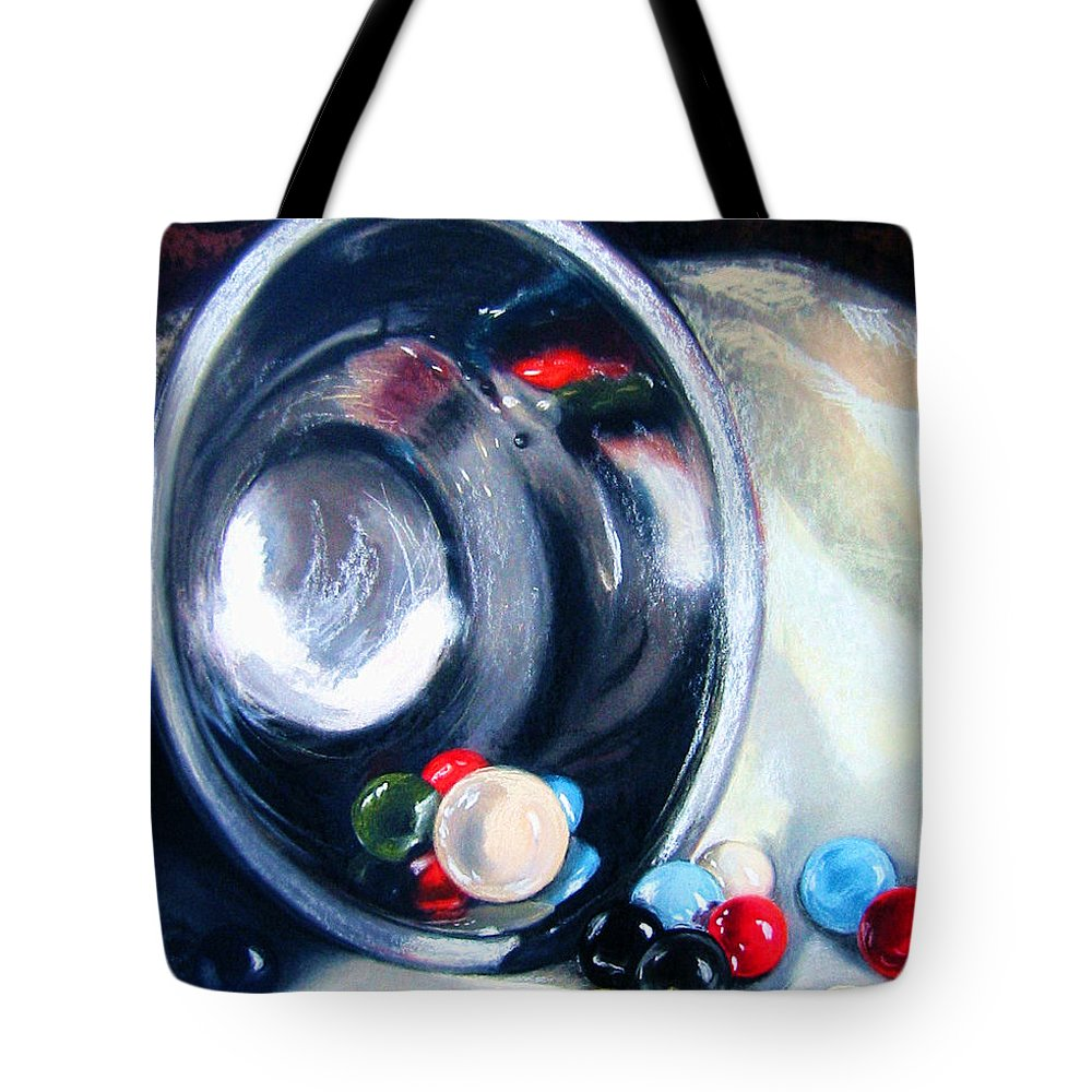 Marbles Tote Bag featuring the pastel The Marble Bowl by Leyla Munteanu