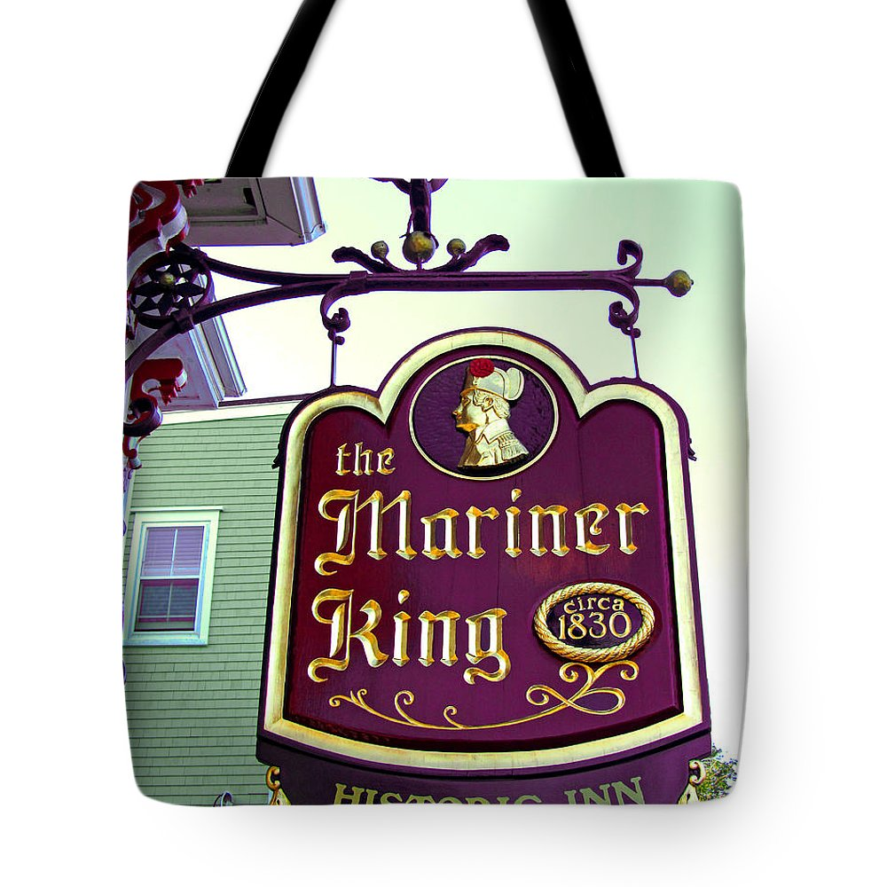 Lunenburg Inn Hotel Sign Tote Bag featuring the photograph The Mariner King Inn Sign by Mark Sellers