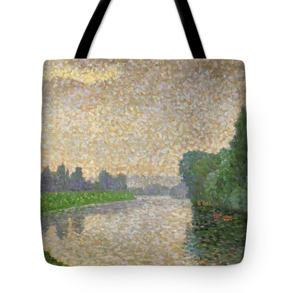 The Tote Bag featuring the painting The Marne At Dawn by DuboisPillet Albert