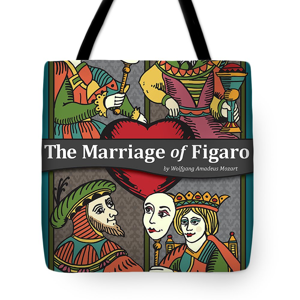 Mozart Tote Bag featuring the digital art The Marriage Of Figaro by Joe Barsin