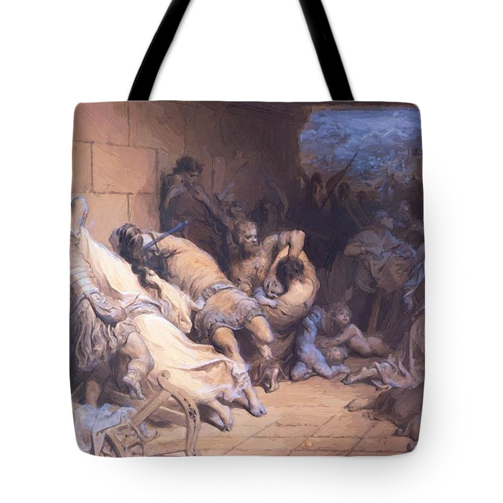 The Tote Bag featuring the painting The Martyrdom Of The Holy Innocents 1868 by Dore Gustave