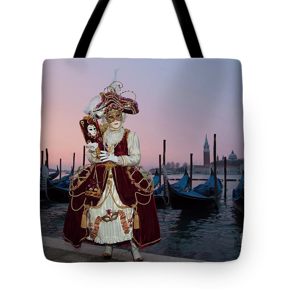 Mask Tote Bag featuring the photograph The Masks Of Venice Carnival by Linda D Lester