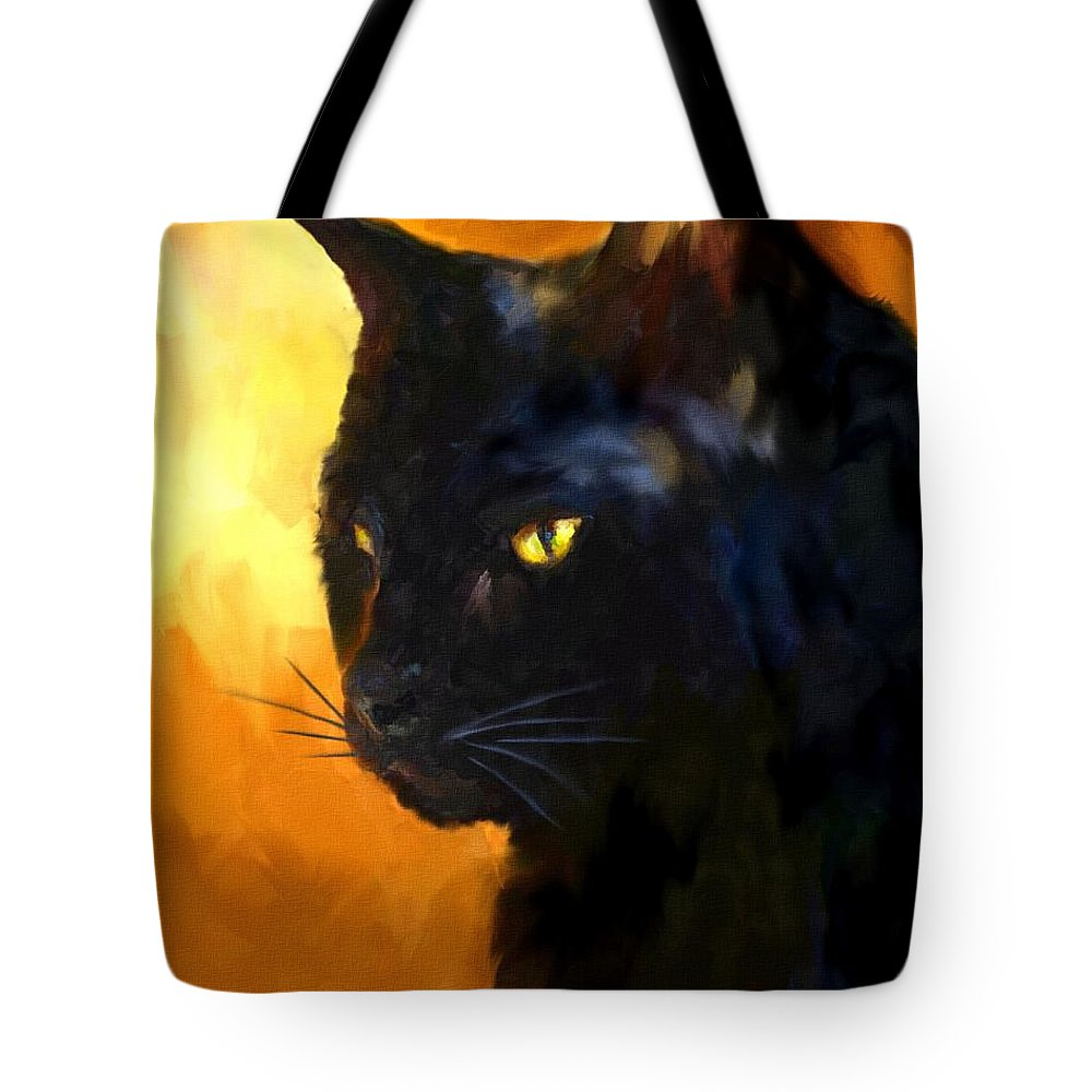 Cat Tote Bag featuring the painting The Master by Jai Johnson