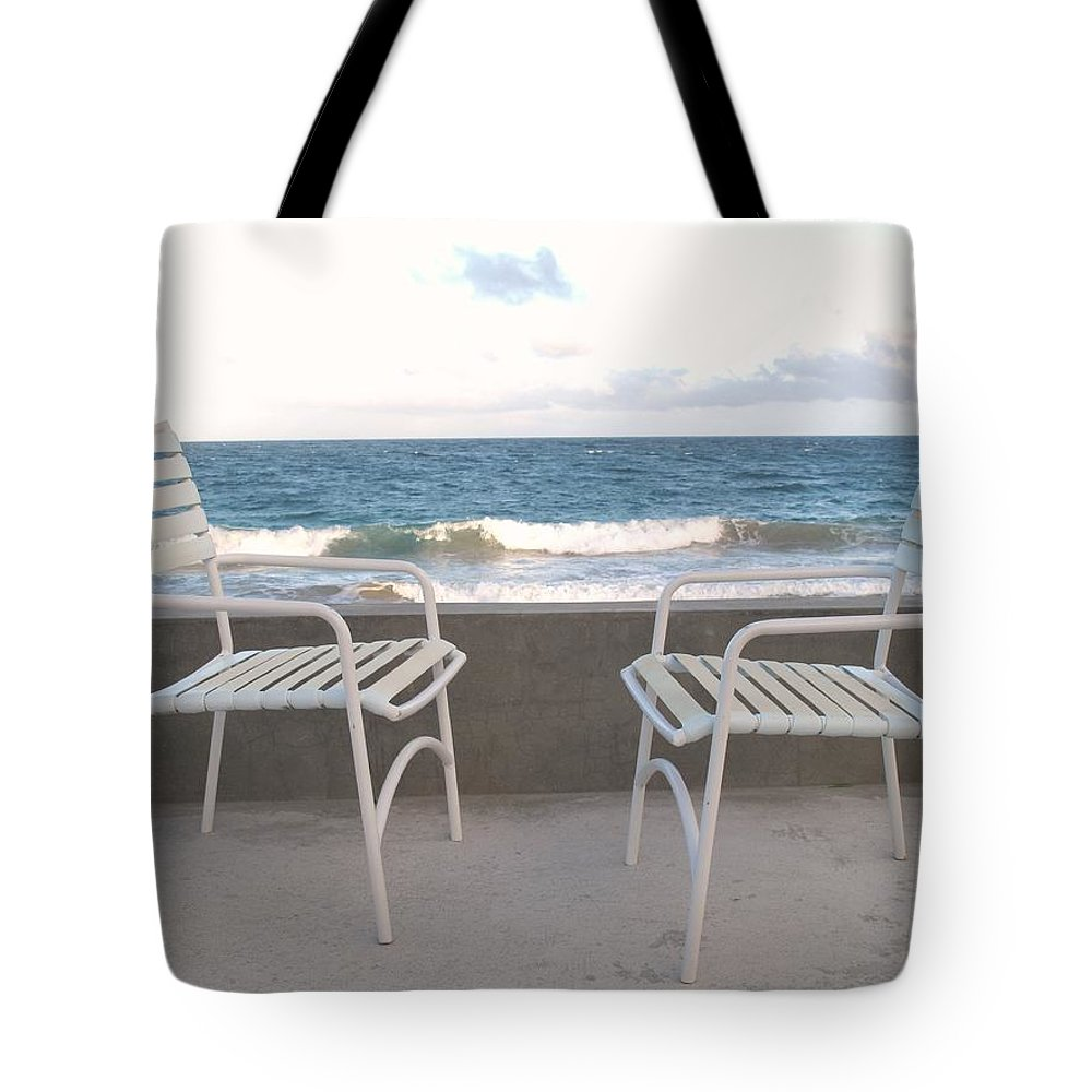 Seascape Tote Bag featuring the photograph The Meeting by Ian MacDonald