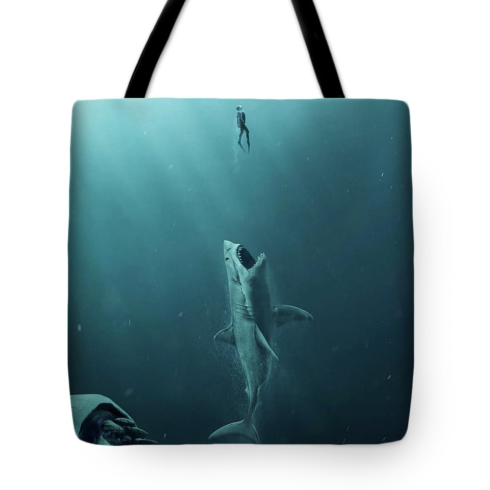 The Meg Tote Bag featuring the mixed media The Meg 5.0.3 by Movie Poster Prints