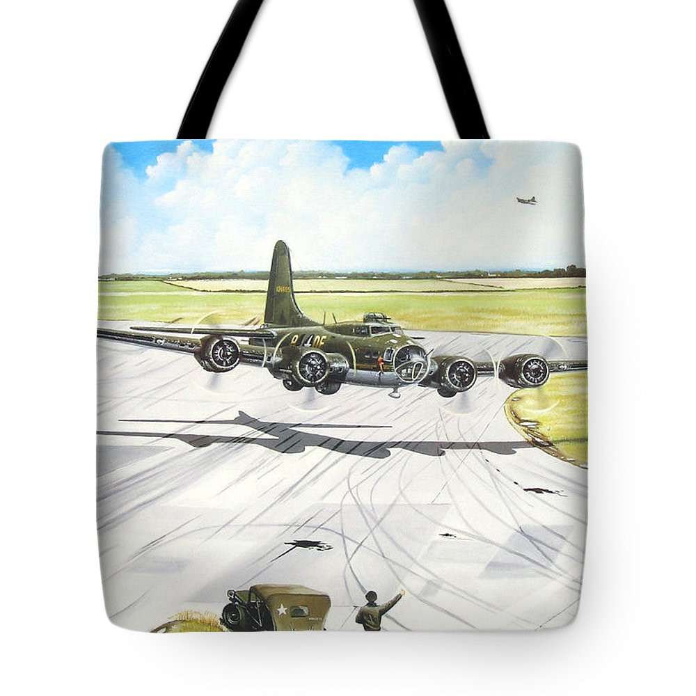 Military Tote Bag featuring the painting The Memphis Belle by Marc Stewart