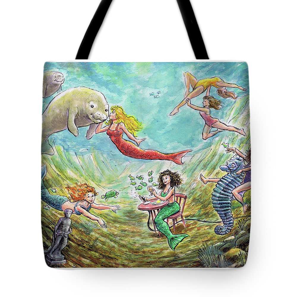 Mermaid Tote Bag featuring the painting The Mermaids Of Weeki Wachee State Park by Rob Smith