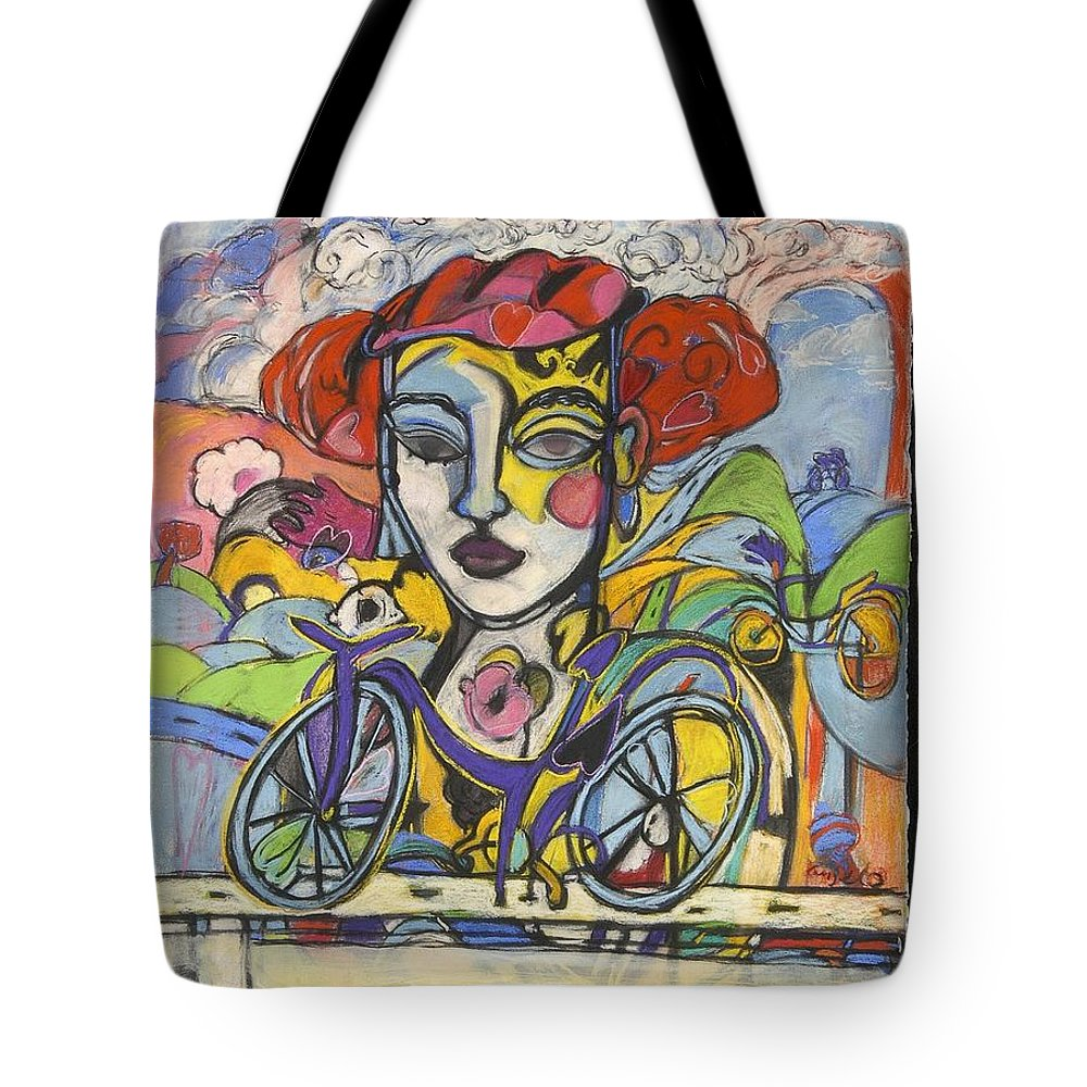 Bicycle Tote Bag featuring the drawing the Messenger by Mykul Anjelo