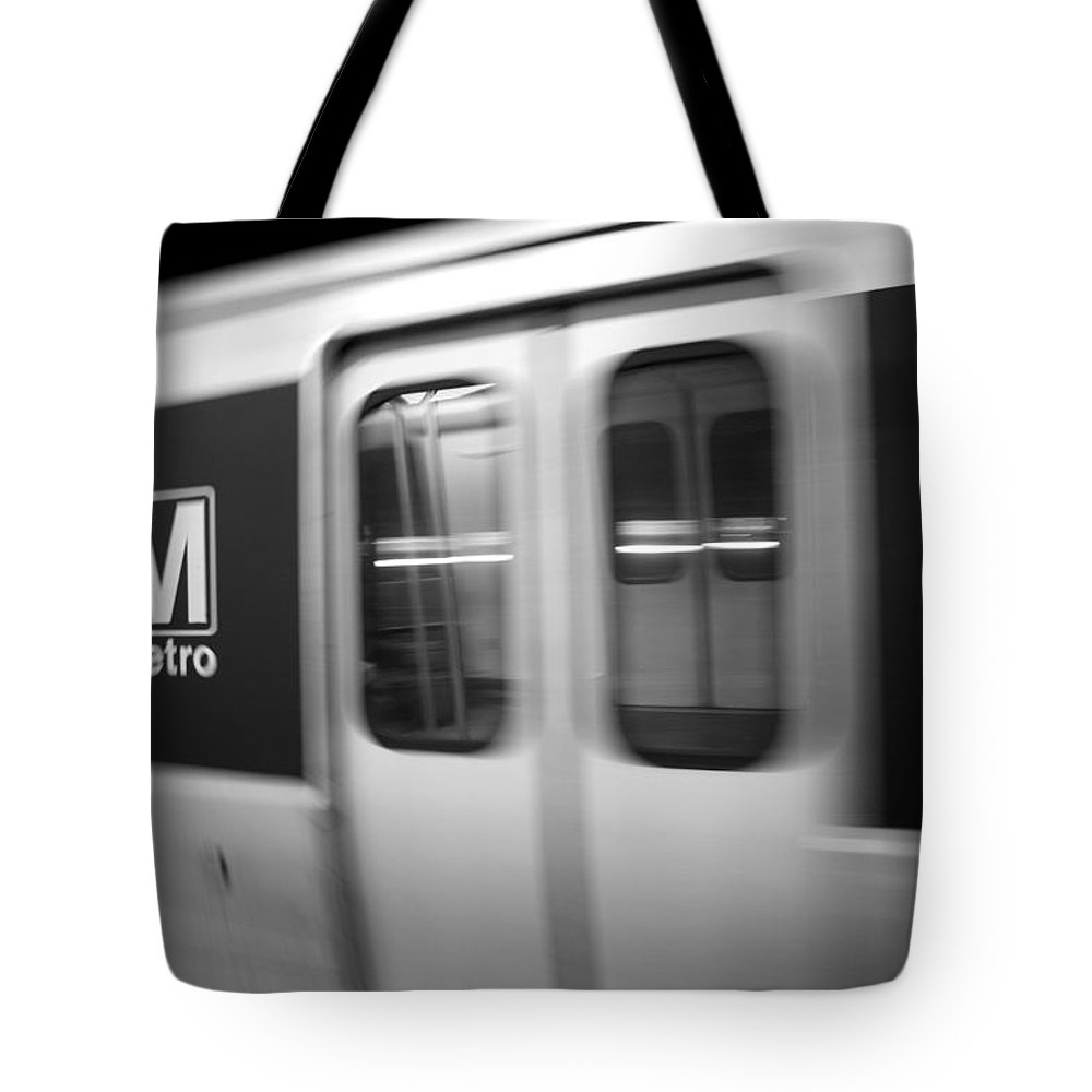 Metro Tote Bag featuring the photograph The Metro Is The Subway Train by Stephen Alvarez