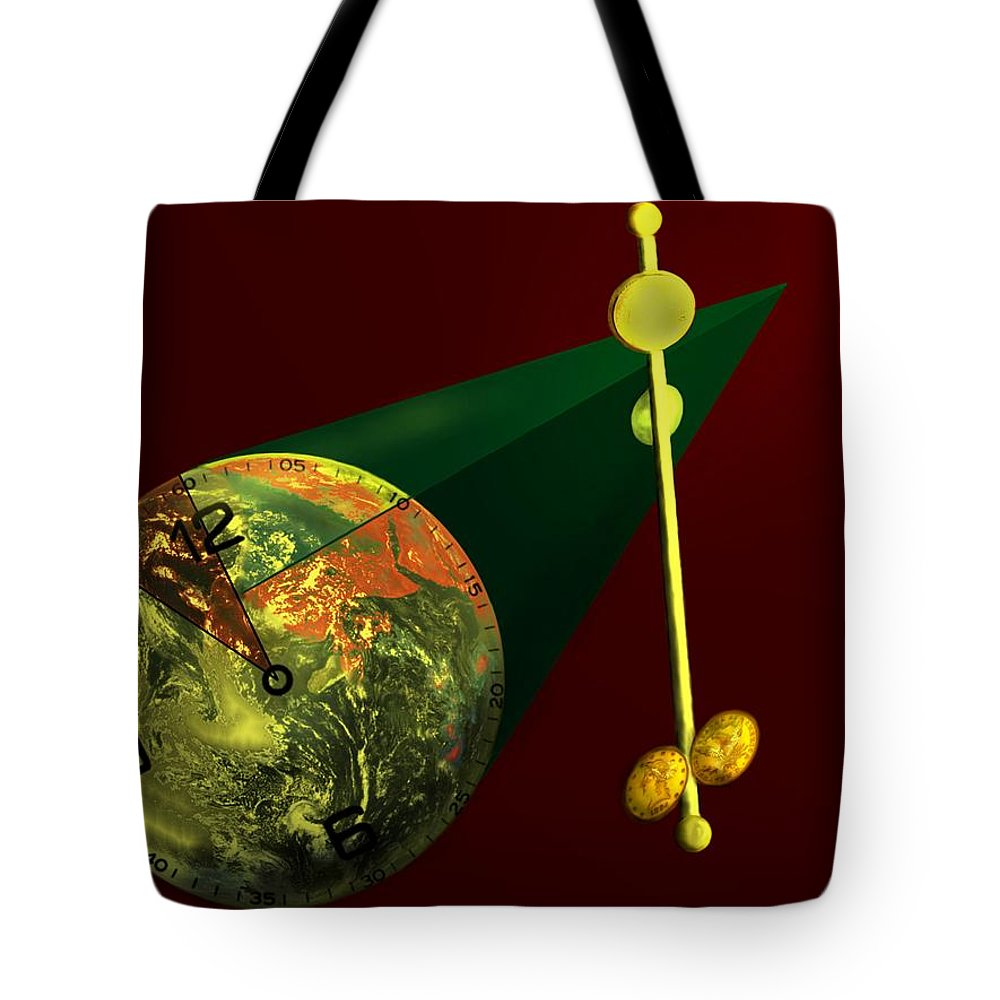 Earth Tote Bag featuring the digital art The Metronome by Helmut Rottler