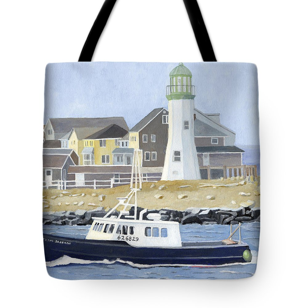 Fishingboat Tote Bag featuring the painting The Michael Brandon by Dominic White