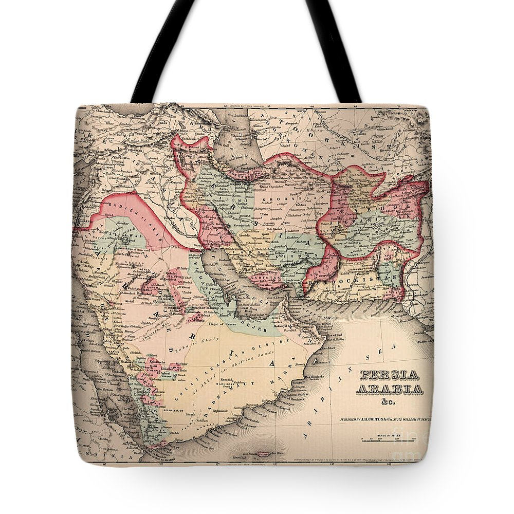 Saudi Arabia Tote Bag featuring the drawing The Middle East In The Mid 19th Century by English School