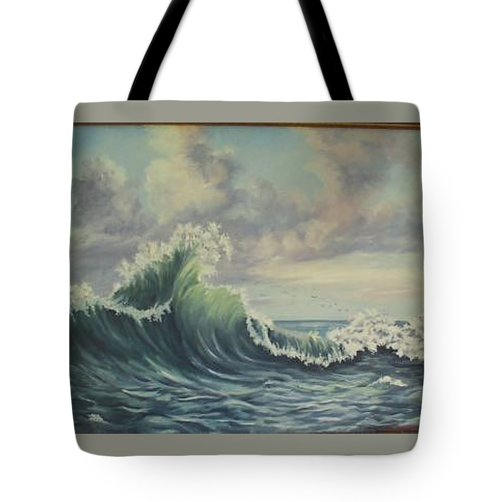 Atlantic Ocean Tote Bag featuring the painting The Mighty Atlantic by Wanda Dansereau