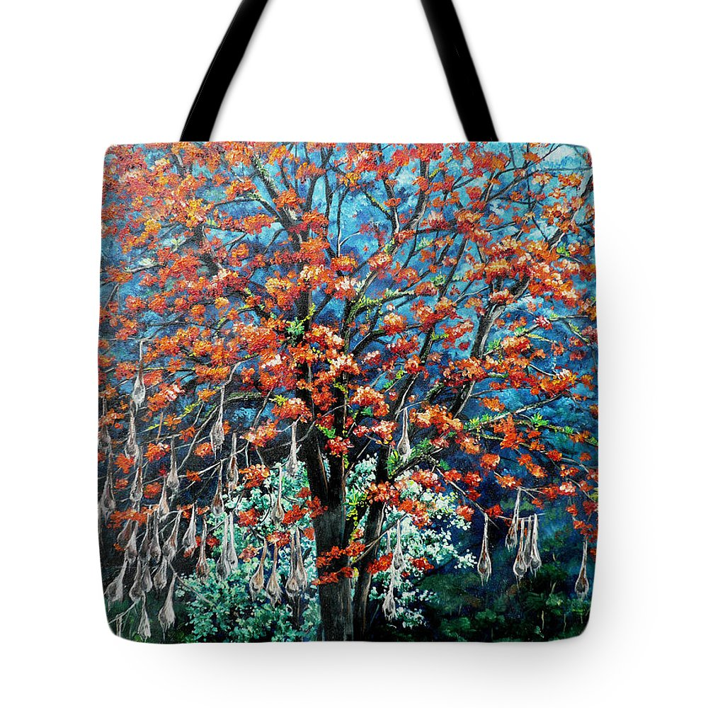 Tree Painting Mountain Painting Floral Painting Caribbean Painting Original Painting Of Immortelle Tree Painting  With Nesting Corn Oropendula Birds Painting In Northern Mountains Of Trinidad And Tobago Painting Tote Bag featuring the painting The Mighty Immortelle by Karin Dawn Kelshall- Best
