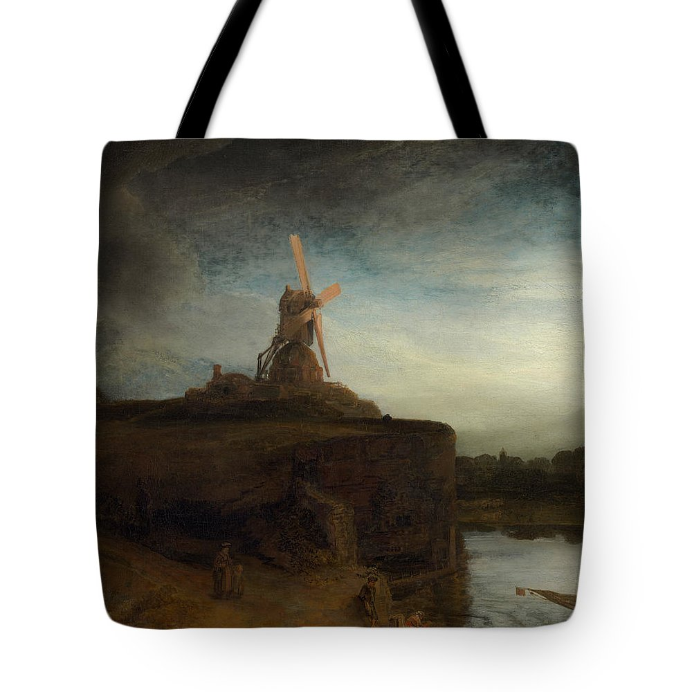 Rembrandt Tote Bag featuring the painting The Mill by Rembrandt