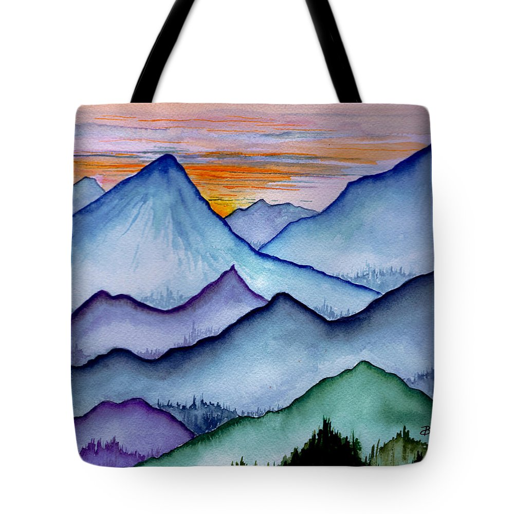 Landscape Tote Bag featuring the painting The Misty Mountains by Brenda Owen