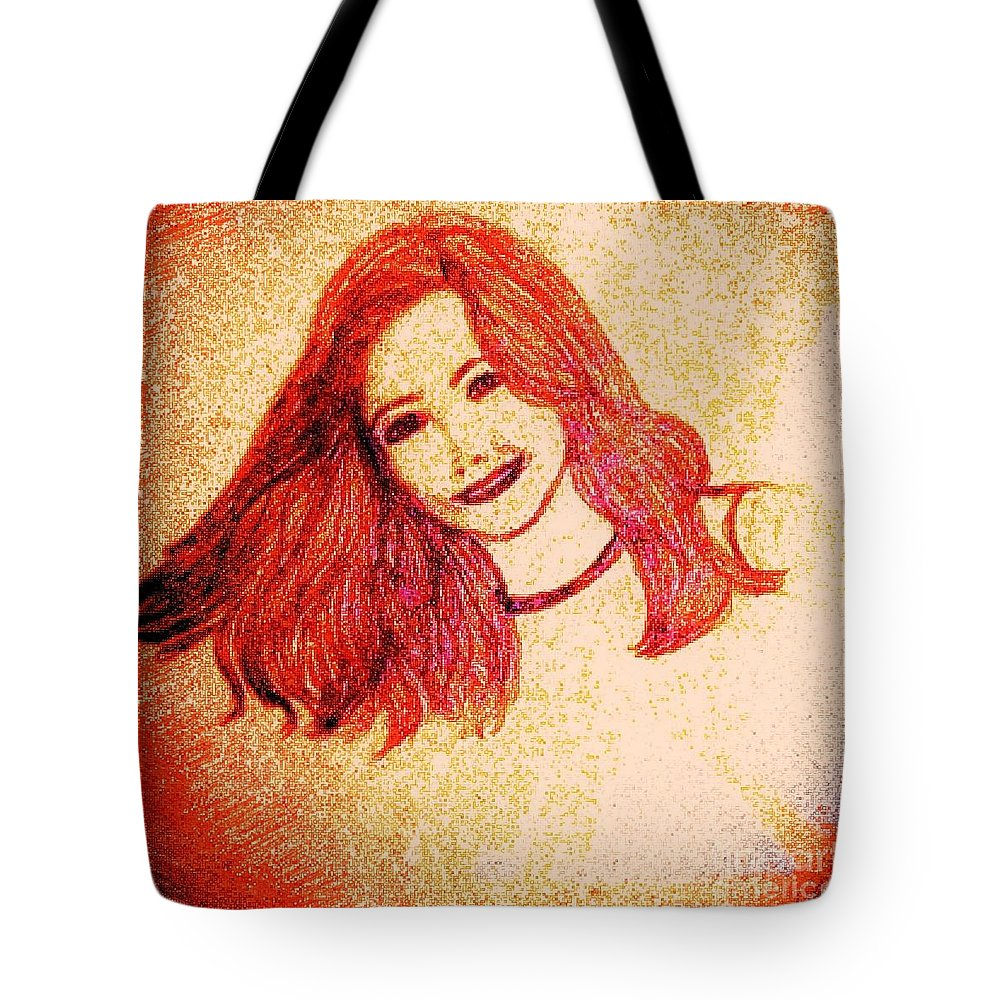 Pencil Tote Bag featuring the drawing The Model by Debra Lynch