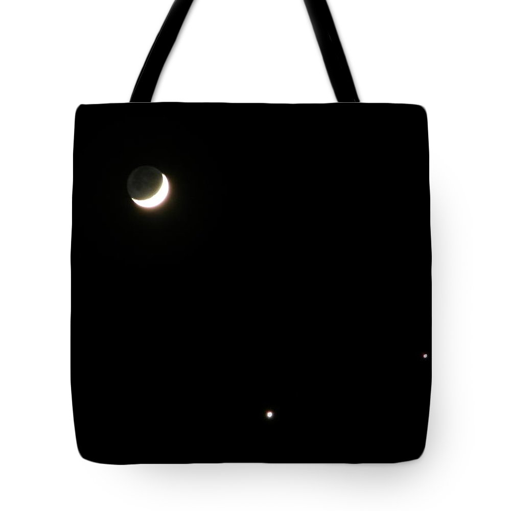 Moon Tote Bag featuring the photograph The Moon And Stars by Gale Cochran-Smith