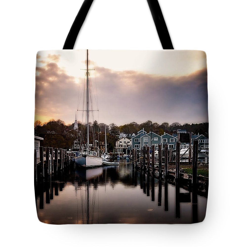 Ship Tote Bag featuring the photograph The Mooring by Michael Riha