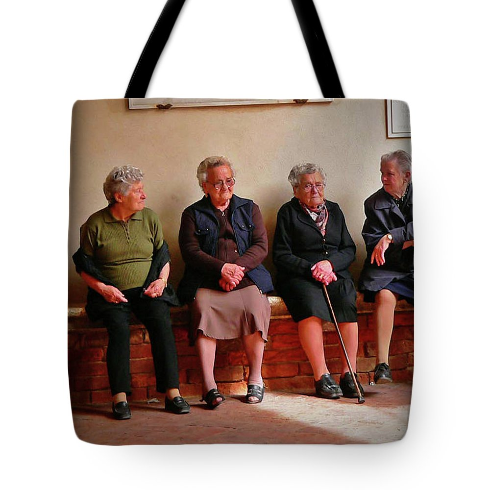 Women Tote Bag featuring the photograph The Morning Gossip by Angela Wright