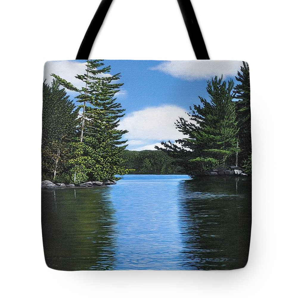 Landscapes Tote Bag featuring the painting The Narrows Of Muskoka by Kenneth M Kirsch
