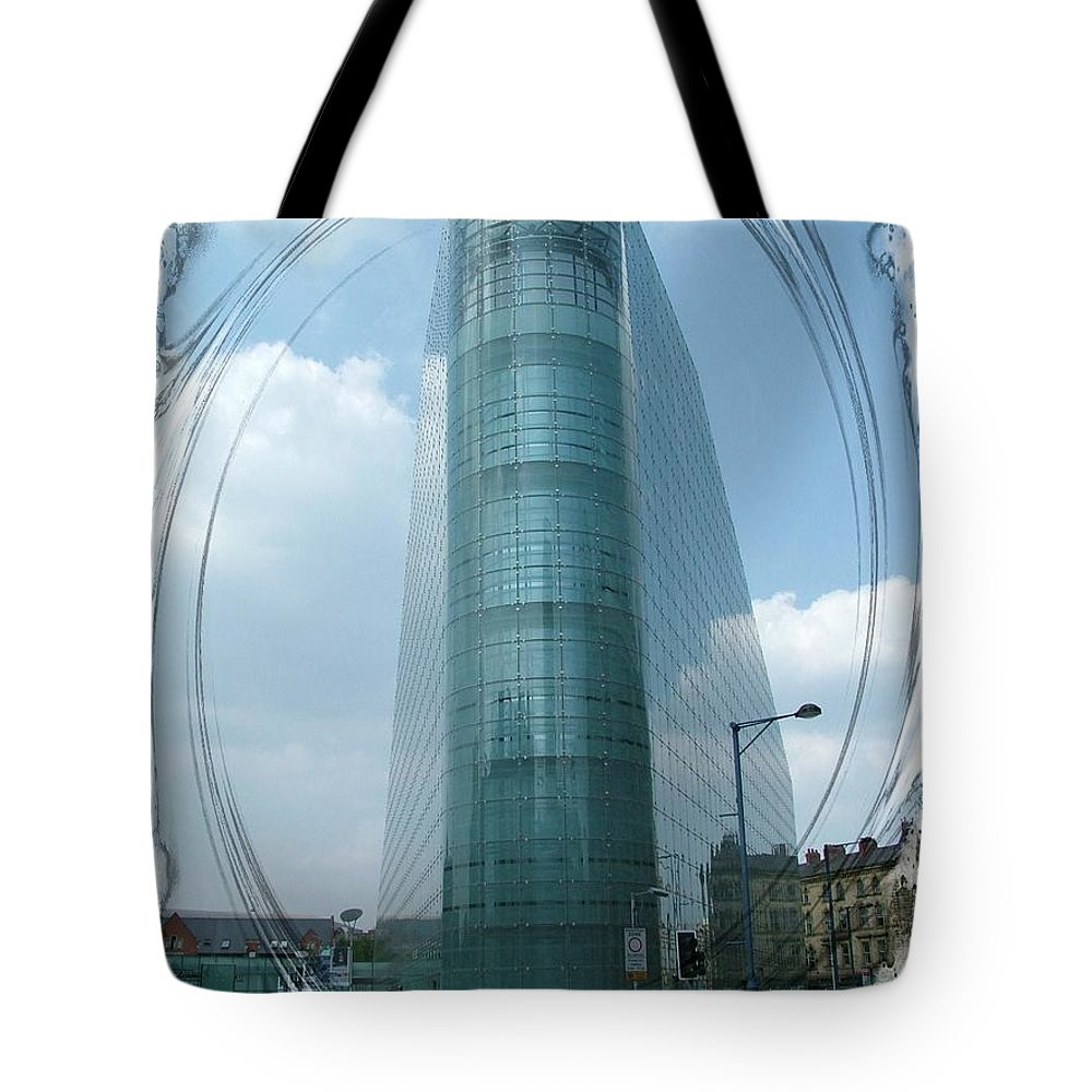 The National Football Museum Manchester Tote Bag featuring the photograph The National Football Museum. Manchester. by Joe Cashin