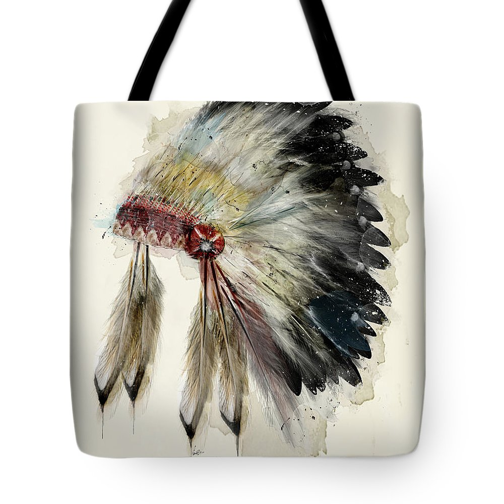 Native Headdress Tote Bag featuring the painting The Native Headdress by Bri Buckley