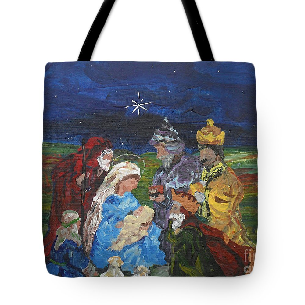 Nativity Tote Bag featuring the painting The Nativity by Reina Resto