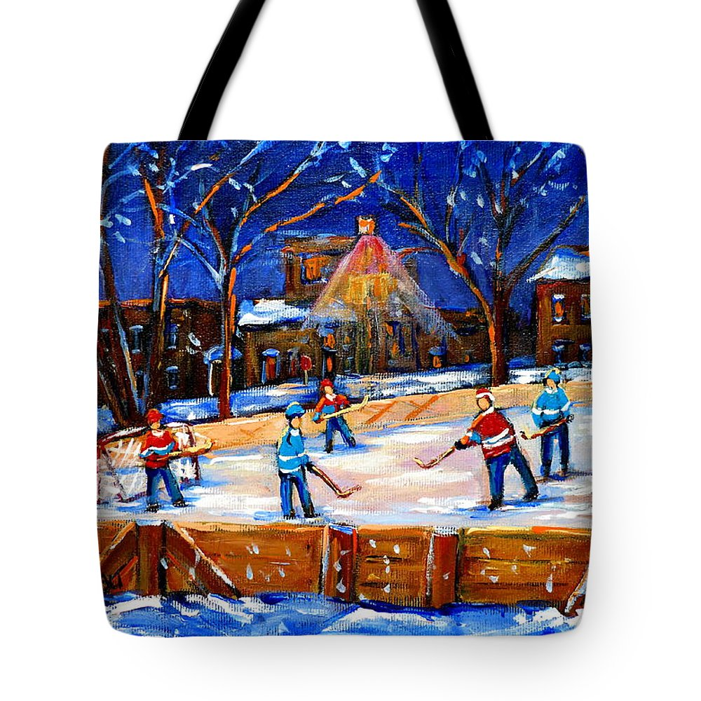 Montreal Tote Bag featuring the painting The Neighborhood Hockey Rink by Carole Spandau