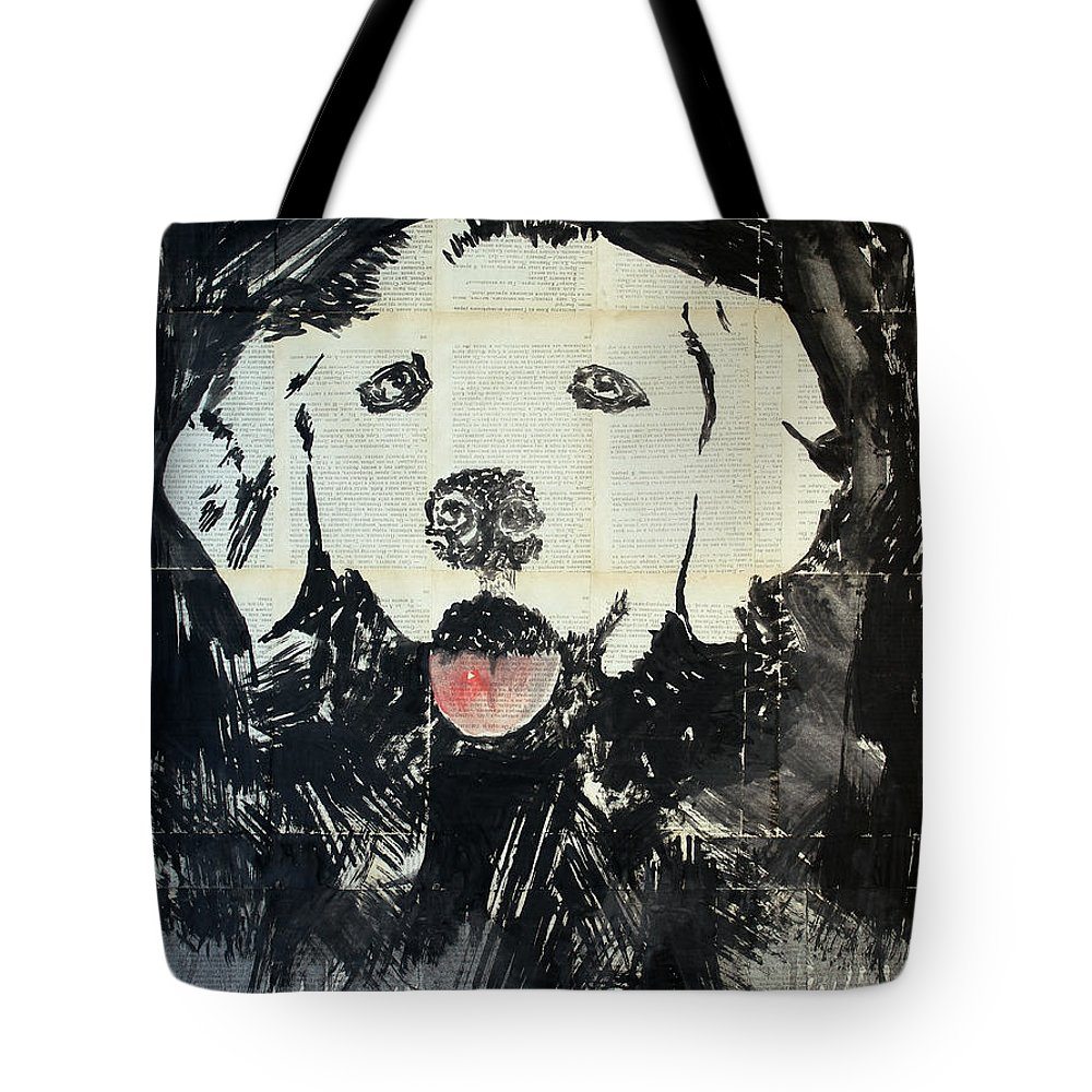 Dog Tote Bag featuring the painting The Neighbor's Dog . by Marat Cherny