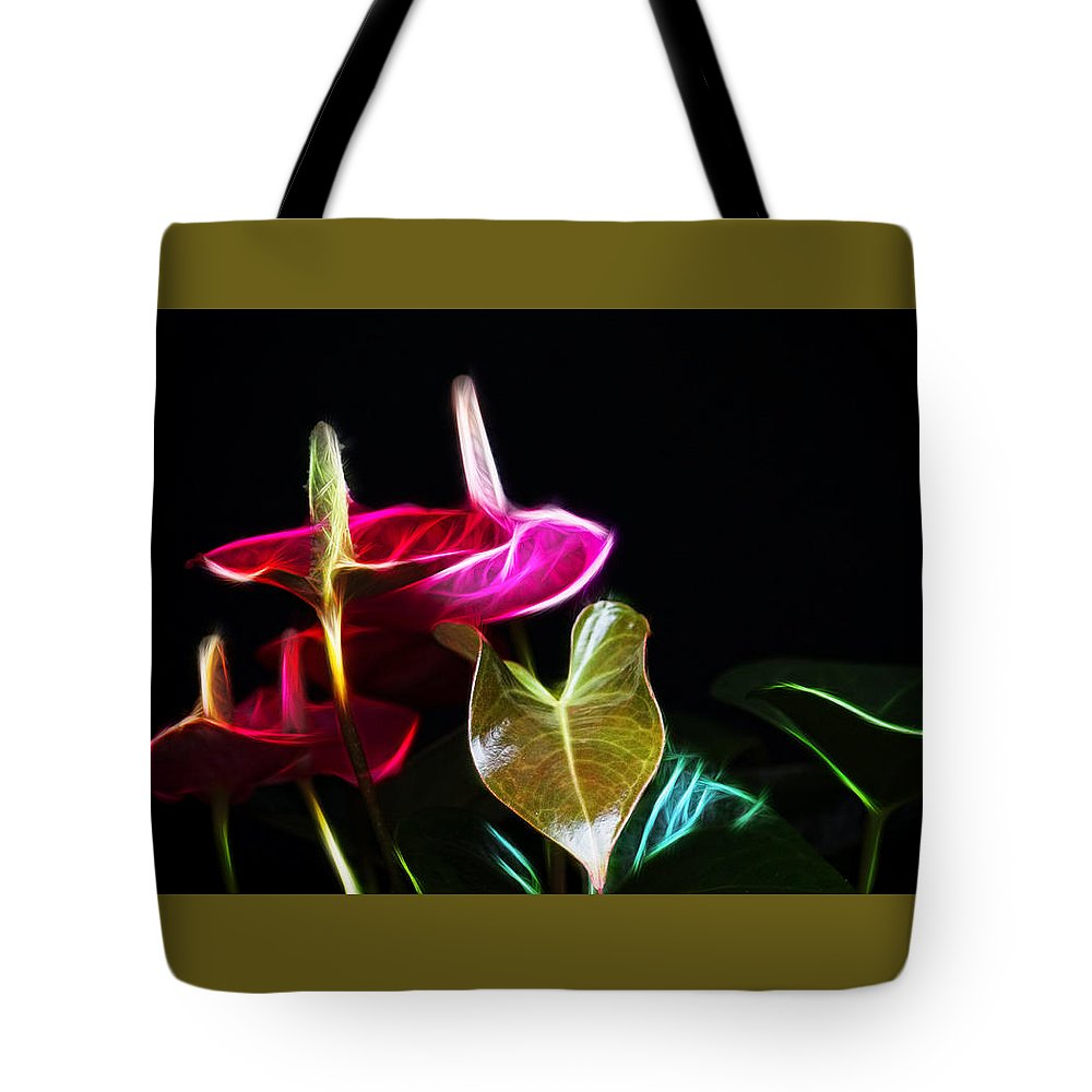 Tropical Tote Bag featuring the photograph The Neon Garden by Cameron Wood
