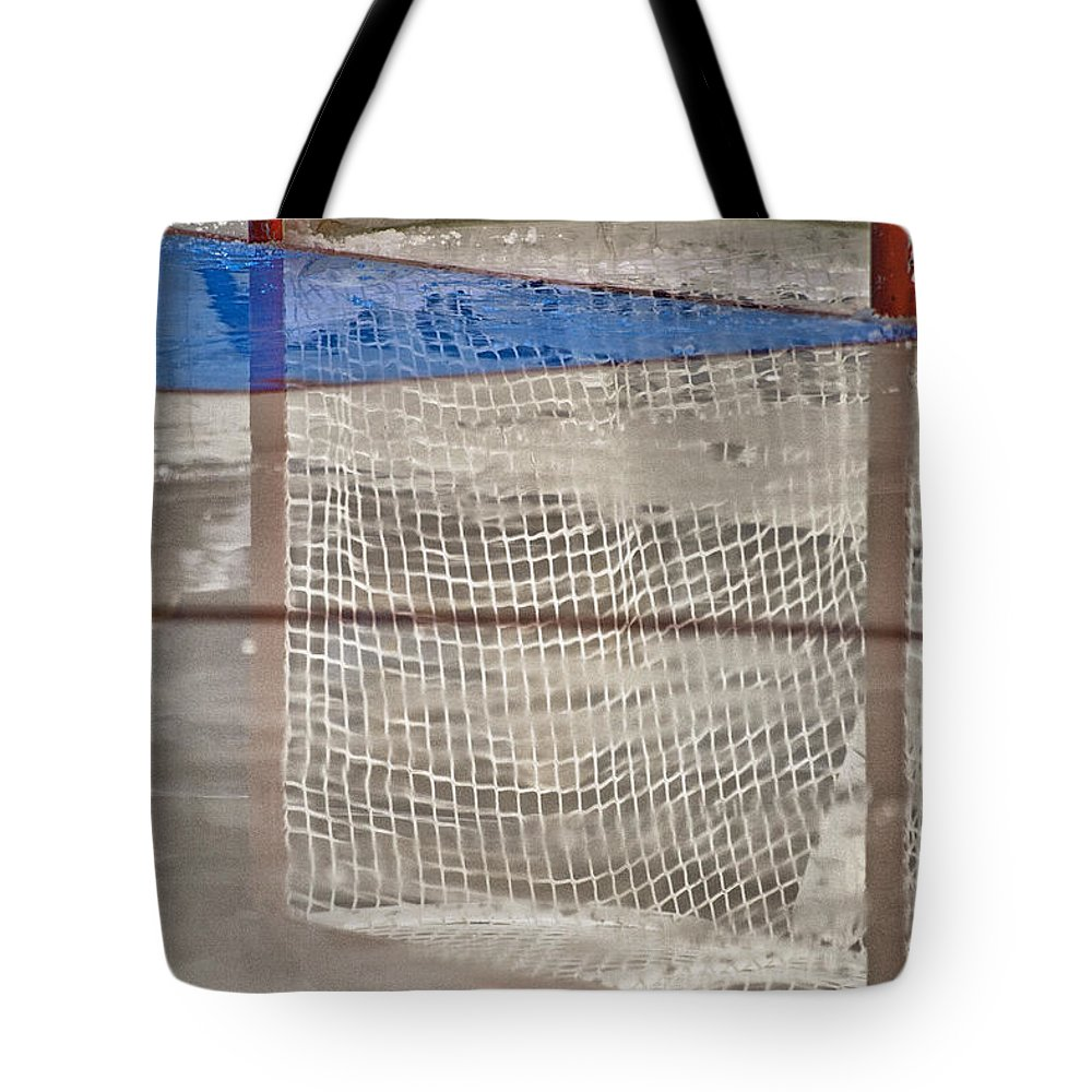 Hockey Tote Bag featuring the photograph The Net Reflection by Karol Livote